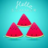 Funny cartoon watermelon slices. On blue background meet the summer. healthy food. vector illustration Stock Photography