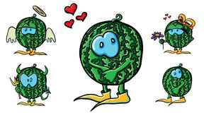 Funny cartoon watermelons in love Royalty Free Stock Images