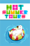 Funny cartoon web banner for travel agency with polar bear Royalty Free Stock Images