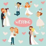 Funny cartoon wedding couple, bride and groom Stock Images