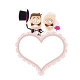Funny cartoon wedding couple with an empty heart Royalty Free Stock Image