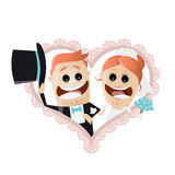 Funny cartoon wedding couple in a heart. Illustration of a funny cartoon wedding couple in a heart Stock Images