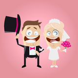 Funny cartoon wedding couple Royalty Free Stock Photo
