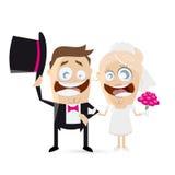 Funny cartoon wedding Stock Images
