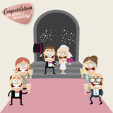 Funny cartoon wedding Stock Images