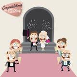 Funny cartoon wedding. Illustration of a funny cartoon wedding Stock Images