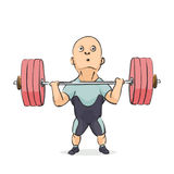 Funny cartoon weightlifter. On white background Royalty Free Stock Photo