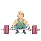 Funny cartoon weightlifter. On white background Royalty Free Stock Photos