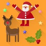 Funny cartoon winter holidays background with cute Santa Claus, Stock Photos