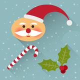 Funny cartoon winter holidays background with cute Santa Claus, Royalty Free Stock Photo
