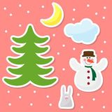 Funny cartoon winter holidays background with drawing snowflakes Stock Photos