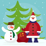 Funny cartoon winter holidays background with Santa, fir and cut Stock Photos