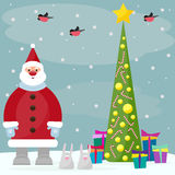 Funny cartoon winter holidays background with Santa, spruce, bul Stock Photos