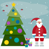 Funny cartoon winter holidays background with Santa, spruce, bul Stock Photography
