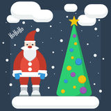 Funny cartoon winter holidays background with Santa and spruce m Royalty Free Stock Images