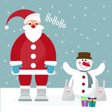 Funny cartoon winter holidays card with Santa, rabbits and cute Royalty Free Stock Photography
