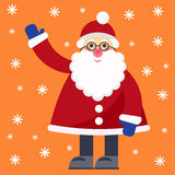 Funny cartoon winter holidays greeting card with Santa Claus Stock Images