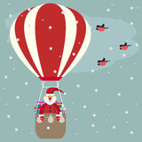 Funny cartoon winter holidays greeting card with Santa Claus fly Royalty Free Stock Images