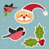 Funny cartoon winter holidays set with cute Santa Claus, bullfin Royalty Free Stock Photo