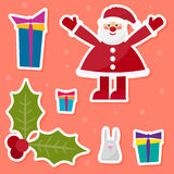 Funny cartoon winter holidays set with cute Santa Claus,rabbit, Royalty Free Stock Photography