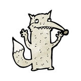 Funny cartoon wolf. Retro cartoon with texture. Isolated on White Royalty Free Stock Photos