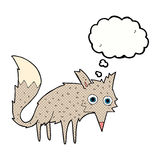 Funny cartoon wolf with thought bubble Royalty Free Stock Photography