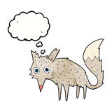 Funny cartoon wolf with thought bubble Stock Photos