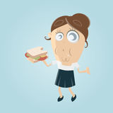 Funny cartoon woman eating a sandwich Royalty Free Stock Photos