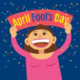 Funny cartoon woman holding sign April Fools Day. Smiling happy girl, with poster signboard. Vector illustration Royalty Free Stock Photo