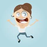 Funny cartoon woman jumping Stock Photo