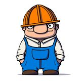 Funny cartoon worker, builder, plumber. Vector illustration Royalty Free Stock Image