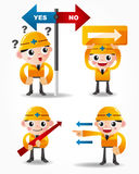 Funny cartoon worker icon set with arrow board Stock Photos