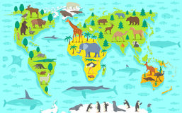 Funny cartoon world map. With traditional animals of all the continents and oceans Royalty Free Stock Photos