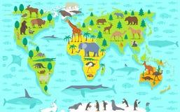 Funny cartoon world map Royalty Free Stock Photos