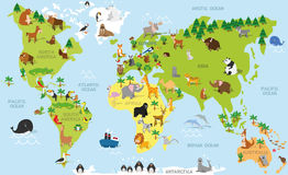Funny cartoon world map with traditional animals of all the continents and oceans. Vector illustration for preschool education