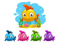 Funny cartoon yellow baby fish. Different colors variation,  illustration Royalty Free Stock Photography