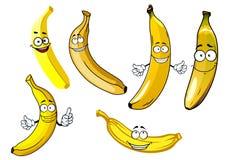 Funny cartoon yellow banana fruits Royalty Free Stock Photos