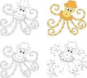 Funny cartoon yellow octopus. Coloring book and dot to dot game Royalty Free Stock Photo