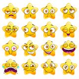 Funny cartoon yellow star character stickers. vector illustration