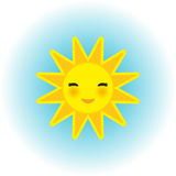 Funny cartoon yellow sun smiling with closed eyes and pink cheeks on blue background. Vector Stock Image