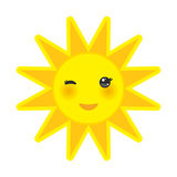 Funny cartoon yellow sun smiling and winking eyes Stock Image