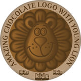 Funny cartoon young lion as logo or icon design element for choc stock illustration