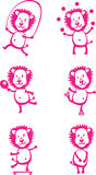 Funny cartoon young lions having fun, playing sport games and fo Royalty Free Stock Photography