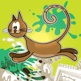 Funny cat. Illustrated background with funny cat Royalty Free Stock Photos