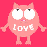 Funny cat. Love card with funny cat royalty free illustration