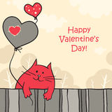 Funny cat with balloons. Cute and funny hand drawn cat with heart balloons. Valentine greeting card Stock Images