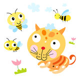 Funny cat and the Bee stock illustration