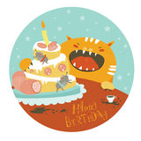 Funny cat and big cake with mouse Royalty Free Stock Images