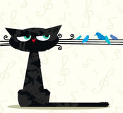 Funny cat and birds Stock Photography