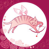 Funny cat with bow and arrow. Series of comic cats Stock Image